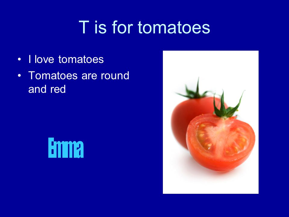 T is for tomatoes I love tomatoes Tomatoes are round and red