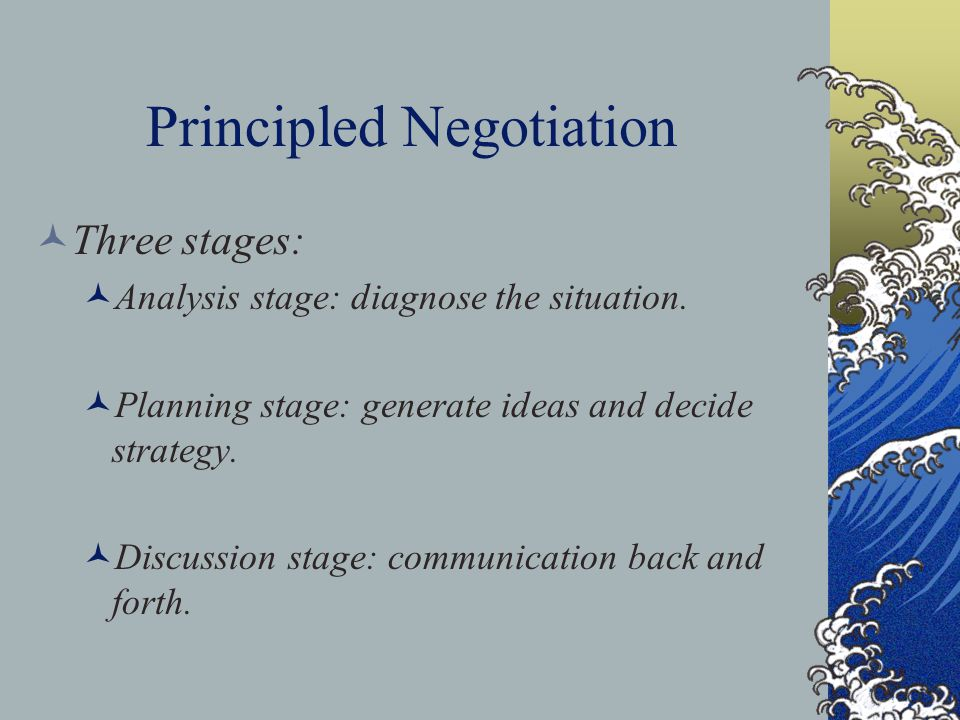 Principled Negotiation Three stages: Analysis stage: diagnose the situation. Planning stage: generate ideas and decide strategy. Discussion stage: com