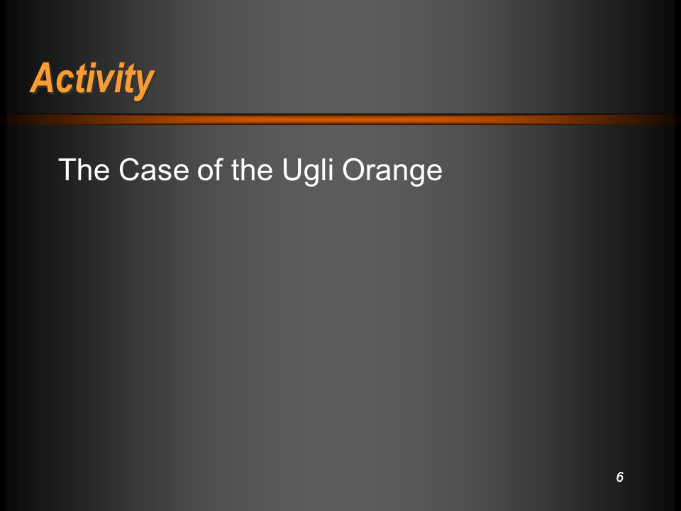Activity The Case of the Ugli Orange 6