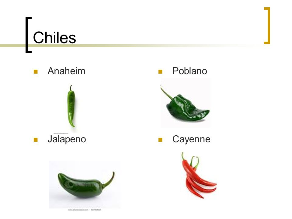 Chiles Anaheim Poblano Jalapeno Cayenne