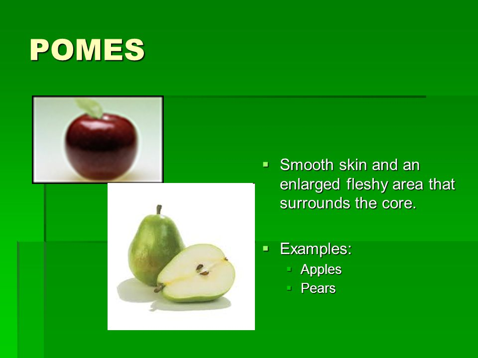 POMES  Smooth skin and an enlarged fleshy area that surrounds the core.