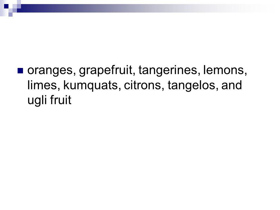 oranges, grapefruit, tangerines, lemons, limes, kumquats, citrons, tangelos, and ugli fruit