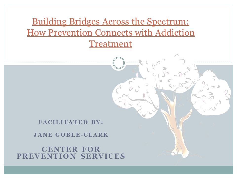 FACILITATED BY: JANE GOBLE-CLARK CENTER FOR PREVENTION SERVICES Building Bridges Across the Spectrum: How Prevention Connects with Addiction Treatment