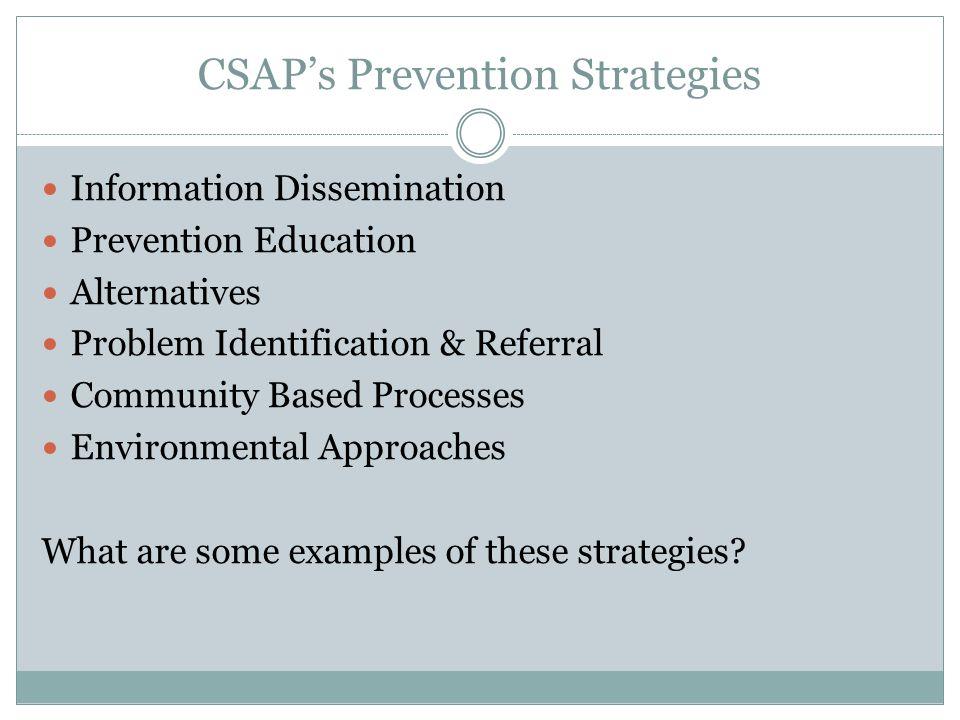 CSAP's Prevention Strategies Information Dissemination Prevention Education Alternatives Problem Identification & Referral Community Based Processes E