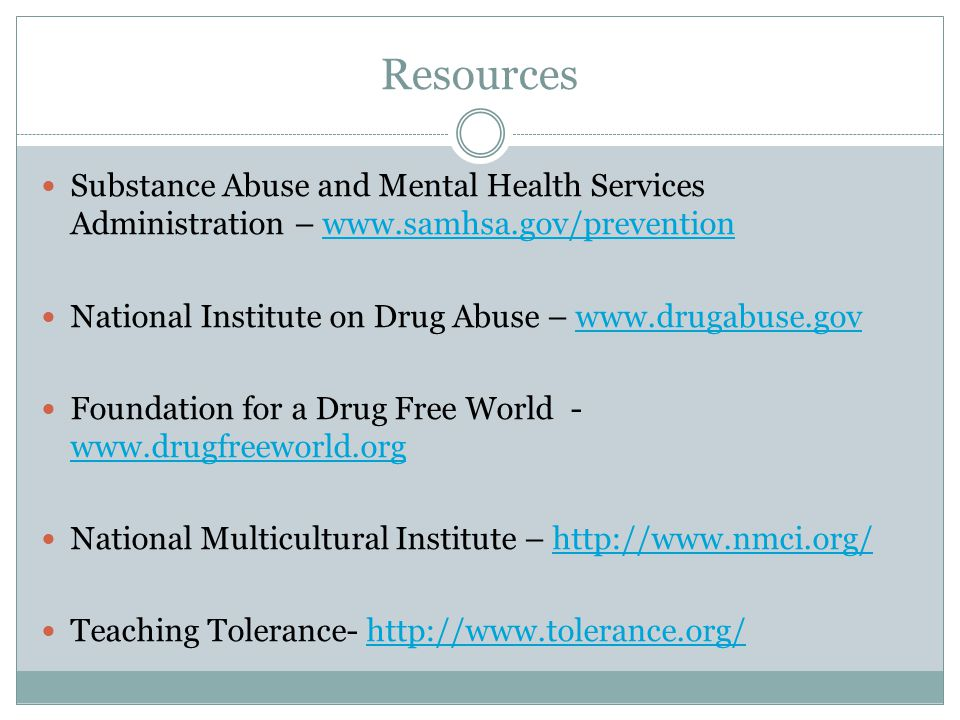 Resources Substance Abuse and Mental Health Services Administration – www.samhsa.gov/preventionwww.samhsa.gov/prevention National Institute on Drug Ab