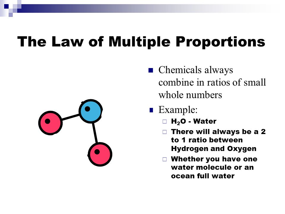 The Law of Multiple Proportions Chemicals always combine in ratios of small whole numbers Example:  H 2 O - Water  There will always be a 2 to 1 rat