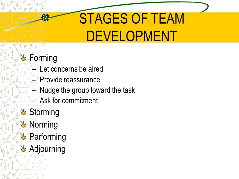 STAGES OF TEAM DEVELOPMENT Forming –Let concerns be aired –Provide reassurance –Nudge the group toward the task –Ask for commitment Storming Norming P