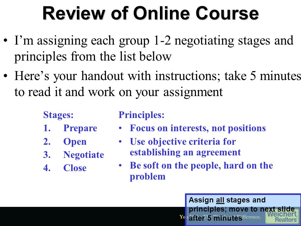 Review of Online Course Let's go to the group that had the first negotiating principle, focus on interests, not positions.