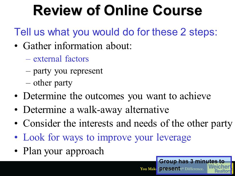 Review of Online Course Let's go to the group that had the second stage, Opening.