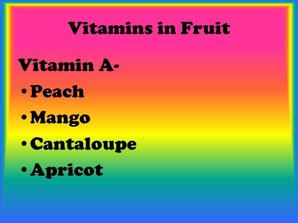 Vitamins in Fruit Vitamin A- Peach Mango Cantaloupe Apricot