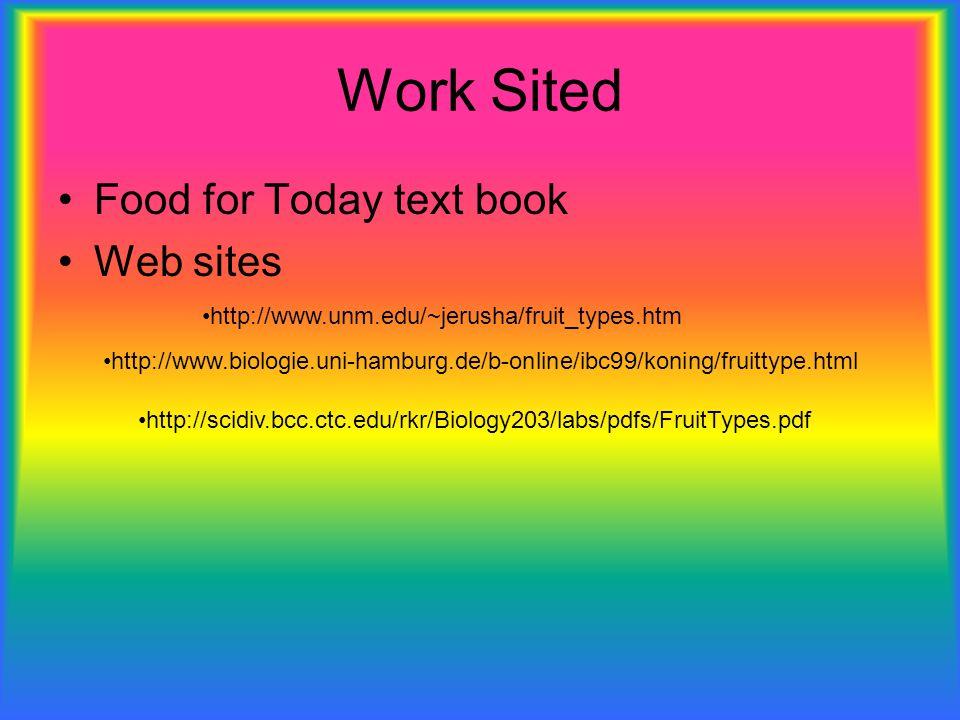 Work Sited Food for Today text book Web sites http://www.unm.edu/~jerusha/fruit_types.htm http://www.biologie.uni-hamburg.de/b-online/ibc99/koning/fru