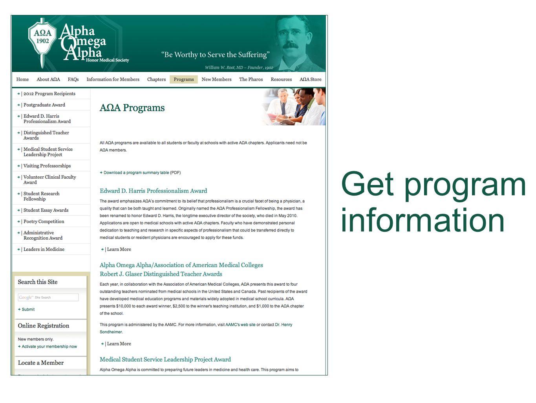 Get program information