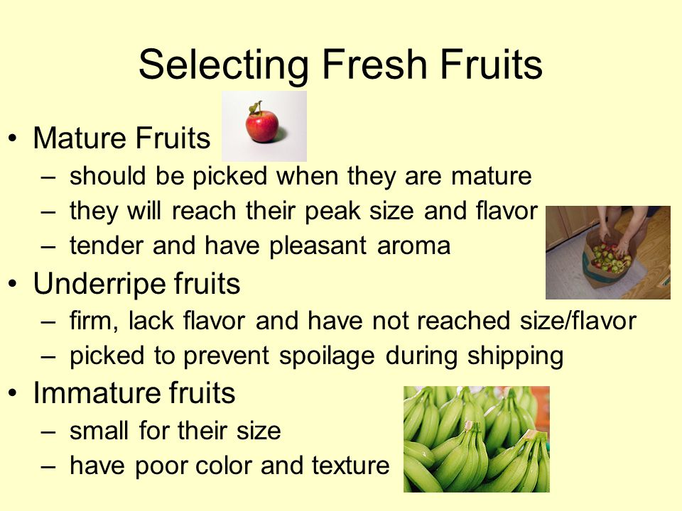 Selecting Fresh Fruits Mature Fruits – should be picked when they are mature – they will reach their peak size and flavor – tender and have pleasant aroma Underripe fruits – firm, lack flavor and have not reached size/flavor – picked to prevent spoilage during shipping Immature fruits – small for their size – have poor color and texture