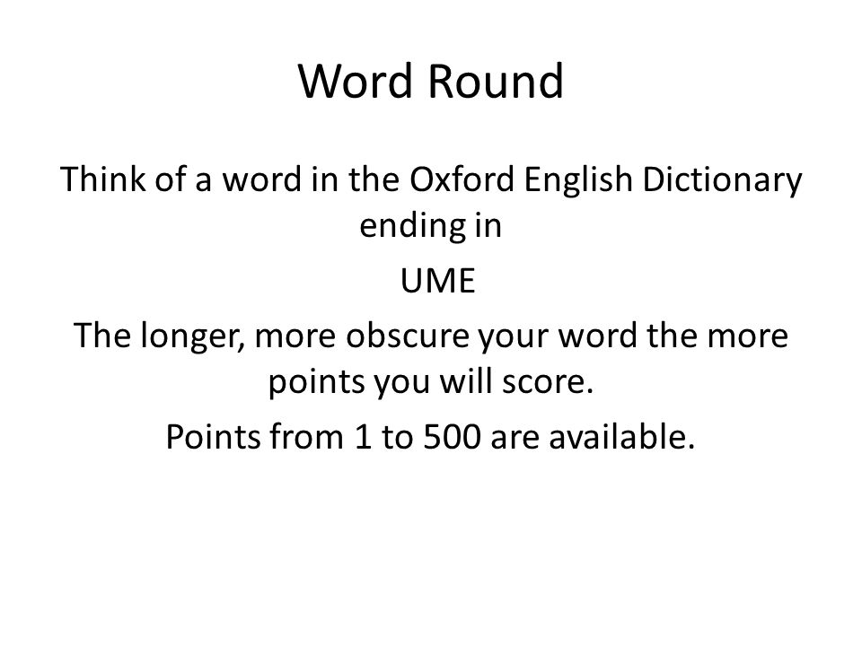Pointless What is your word?