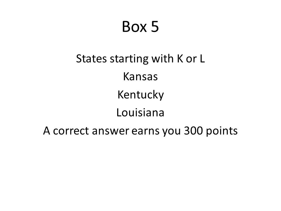 Box 6 Name a US state starting with M.