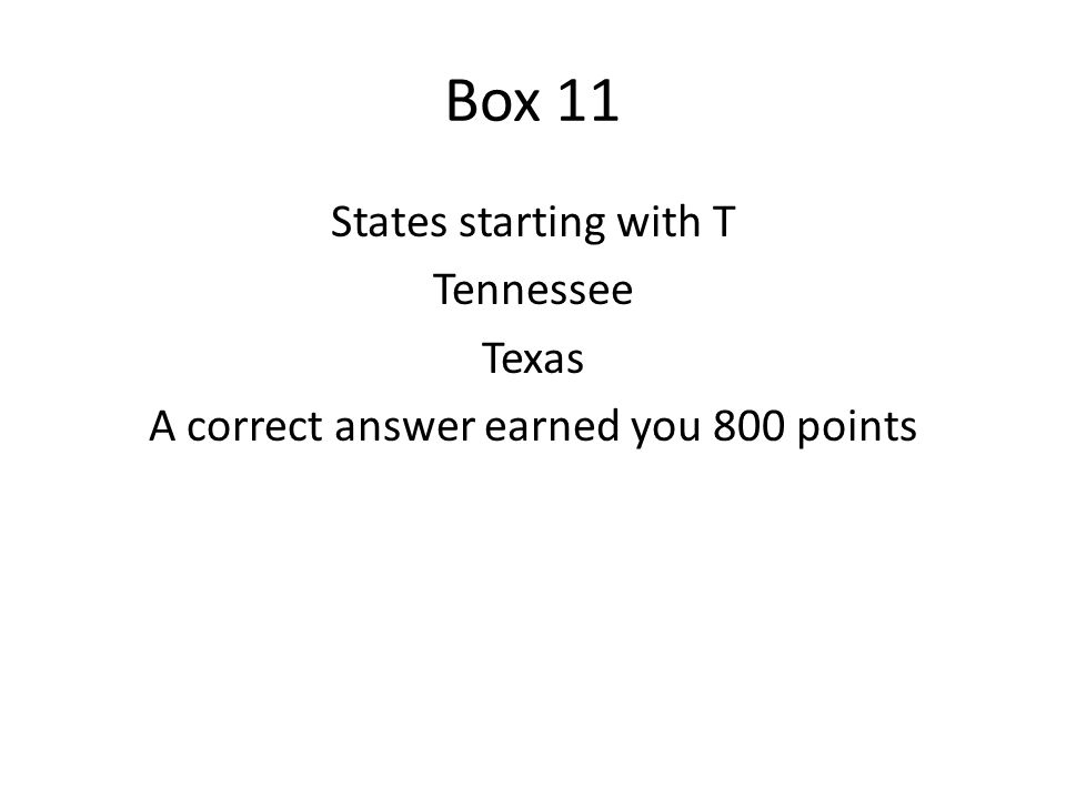 Box 12 Name a US state starting with V