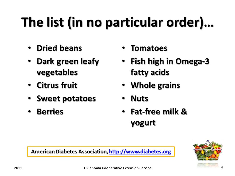 The list (in no particular order)… Dried beans Dried beans Dark green leafy vegetables Dark green leafy vegetables Citrus fruit Citrus fruit Sweet pot