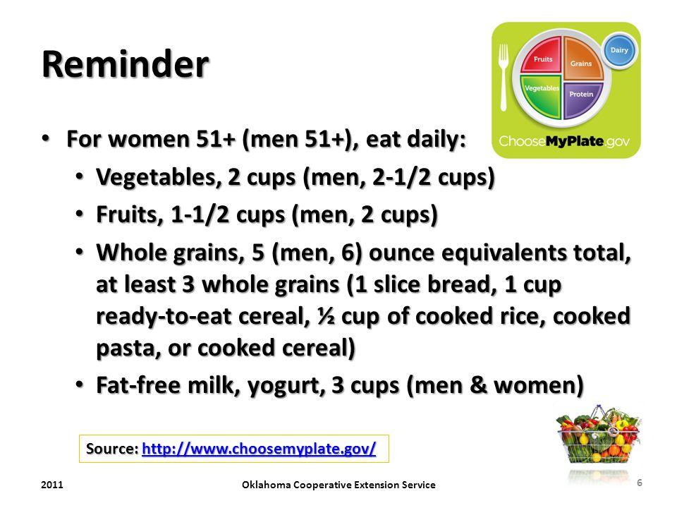 Reminder For women 51+ (men 51+), eat daily: For women 51+ (men 51+), eat daily: Vegetables, 2 cups (men, 2-1/2 cups) Vegetables, 2 cups (men, 2-1/2 c
