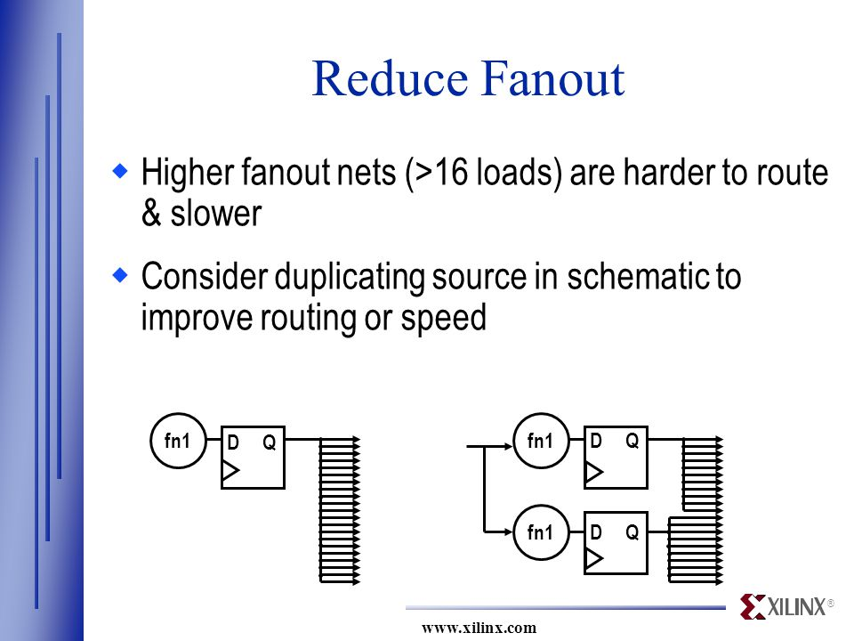 ® www.xilinx.com Reduce Fanout  Higher fanout nets (>16 loads) are harder to route & slower  Consider duplicating source in schematic to improve routing or speed