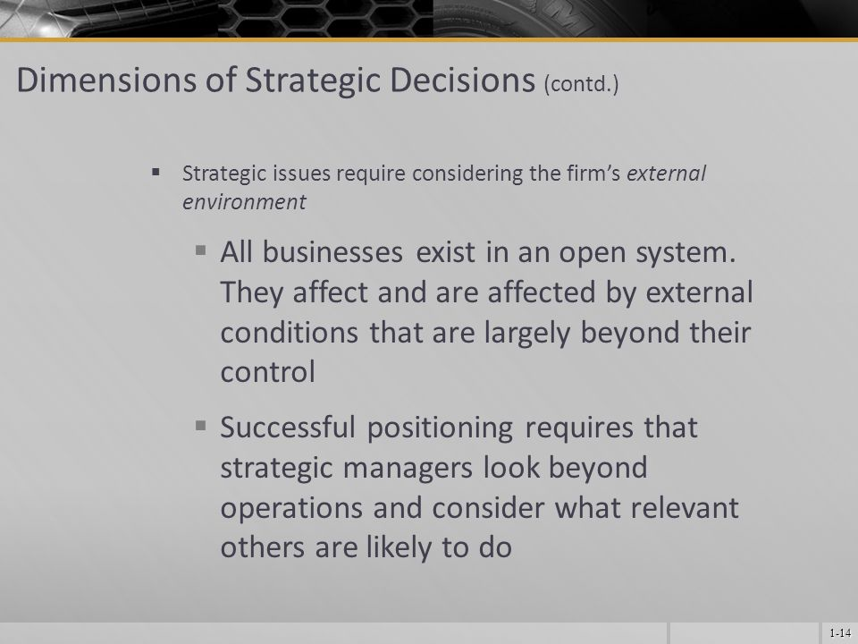 1-14  Strategic issues require considering the firm's external environment  All businesses exist in an open system.
