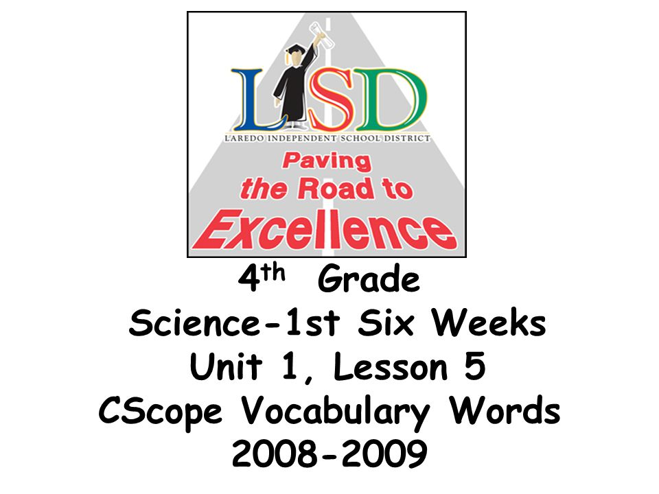 4 th Grade Science-1st Six Weeks Unit 1, Lesson 5 CScope Vocabulary Words 2008-2009