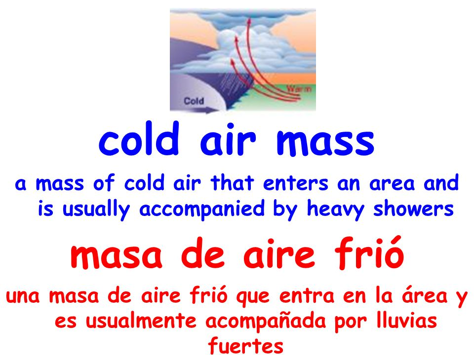 cold air mass a mass of cold air that enters an area and is usually accompanied by heavy showers masa de aire frió una masa de aire frió que entra en