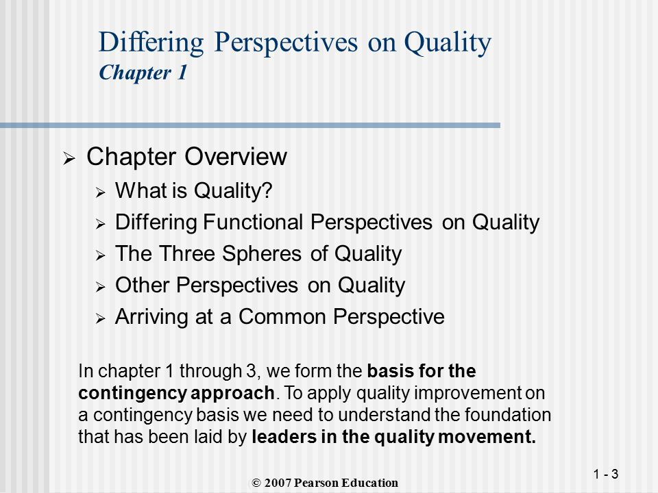 1 - 3  Chapter Overview  What is Quality.