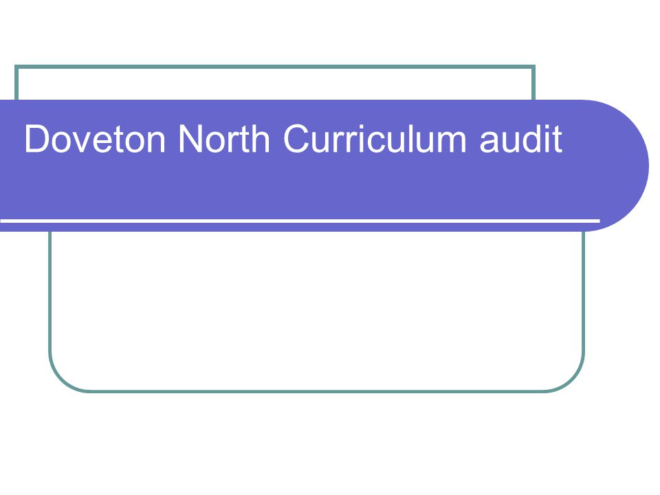 Doveton North Curriculum audit