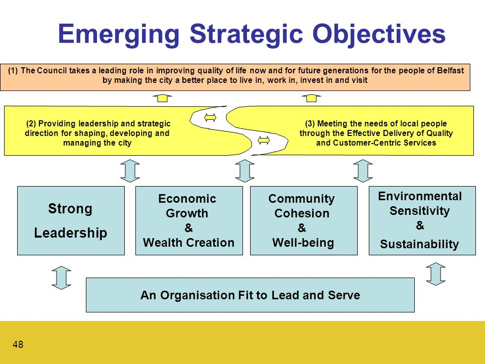 48 Emerging Strategic Objectives (1) The Council takes a leading role in improving quality of life now and for future generations for the people of Belfast by making the city a better place to live in, work in, invest in and visit (2) Providing leadership and strategic direction for shaping, developing and managing the city (3) Meeting the needs of local people through the Effective Delivery of Quality and Customer-Centric Services Strong Leadership Economic Growth & Wealth Creation Community Cohesion & Well-being Environmental Sensitivity & Sustainability An Organisation Fit to Lead and Serve