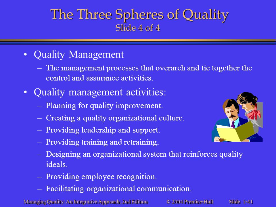 Slide 1-41 © 2004 Prentice-Hall Managing Quality: An Integrative Approach; 2nd Edition The Three Spheres of Quality Slide 4 of 4 Quality Management –T