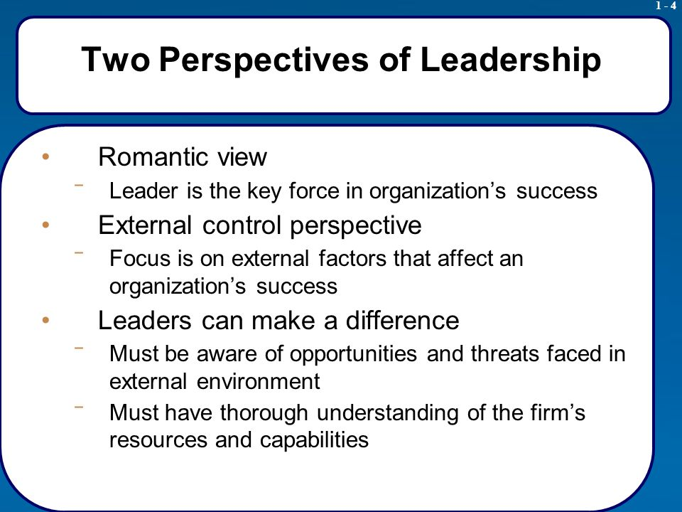 1 - 4 Two Perspectives of Leadership Romantic view ‾ Leader is the key force in organization's success External control perspective ‾ Focus is on external factors that affect an organization's success Leaders can make a difference ‾ Must be aware of opportunities and threats faced in external environment ‾ Must have thorough understanding of the firm's resources and capabilities