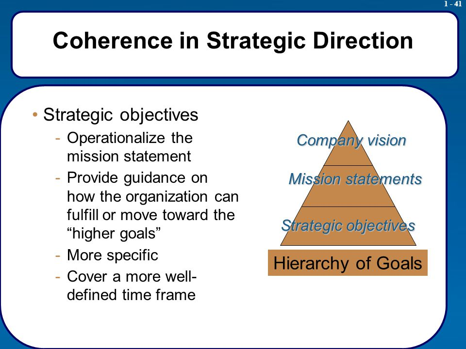 1 - 41 Coherence in Strategic Direction Strategic objectives -Operationalize the mission statement -Provide guidance on how the organization can fulfill or move toward the higher goals -More specific -Cover a more well- defined time frame Hierarchy of Goals Company vision Mission statements Strategic objectives
