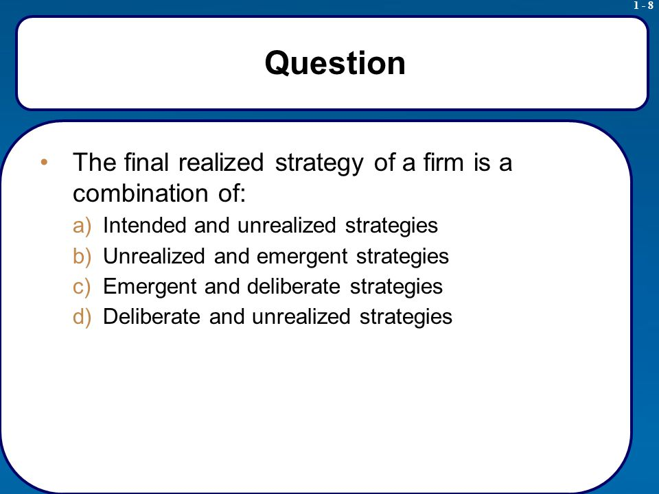 1 - 9 Strategic Management Process Adapted from Exhibit 1.2 Realized Strategy and Intended Strategy: Usually Not the Same Source: H.