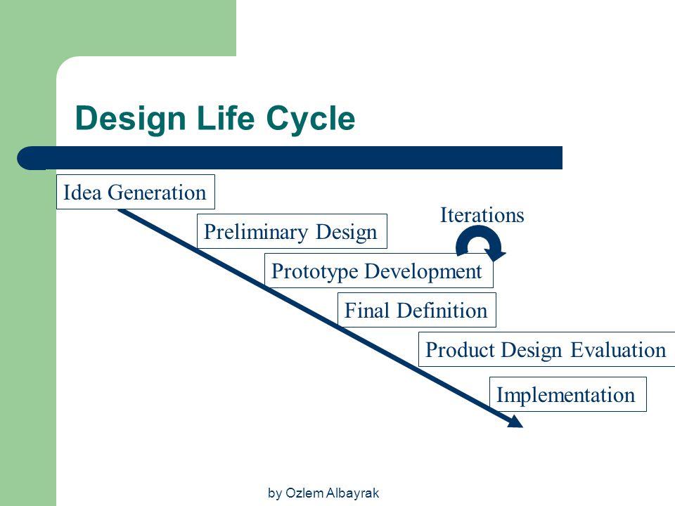 by Ozlem Albayrak Design Life Cycle Idea Generation Preliminary Design Prototype Development Final Definition Product Design Evaluation Implementation
