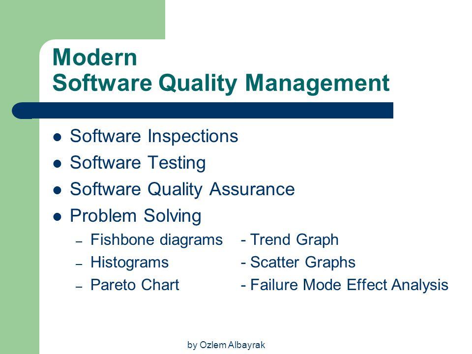 by Ozlem Albayrak Modern Software Quality Management Software Inspections Software Testing Software Quality Assurance Problem Solving – Fishbone diagr