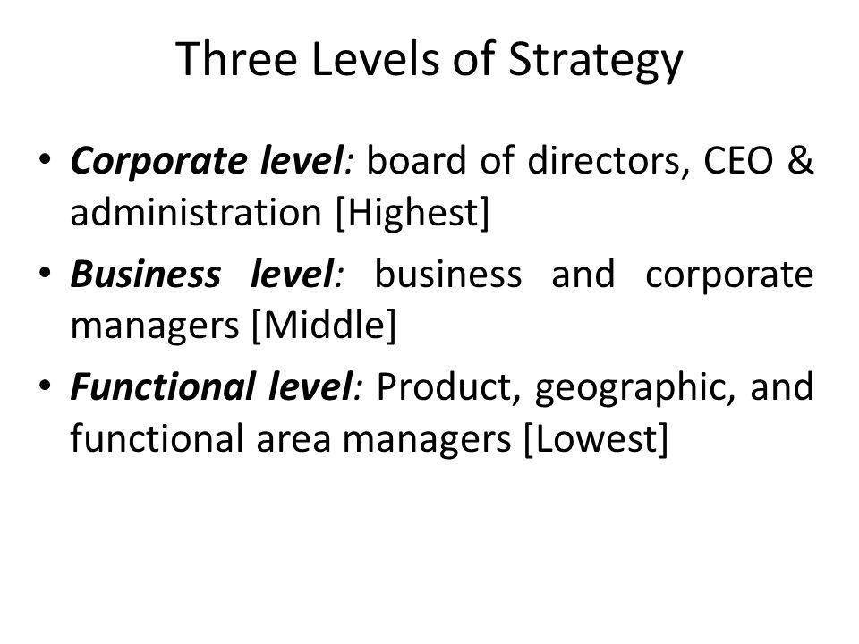 Three Levels of Strategy Corporate level: board of directors, CEO & administration [Highest] Business level: business and corporate managers [Middle]