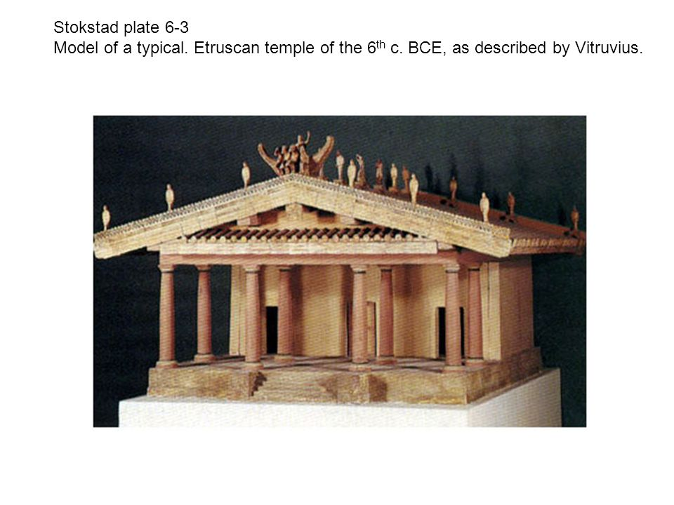 Stokstad plate 6-3 Model of a typical.Etruscan temple of the 6 th c.