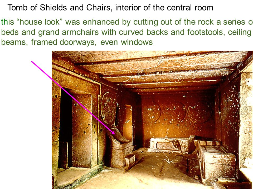 Tomb of Shields and Chairs, interior of the central room this house look was enhanced by cutting out of the rock a series of beds and grand armchairs with curved backs and footstools, ceiling beams, framed doorways, even windows