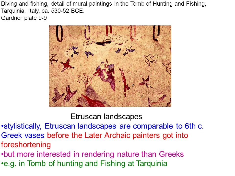 Diving and fishing, detail of mural paintings in the Tomb of Hunting and Fishing, Tarquinia, Italy, ca.