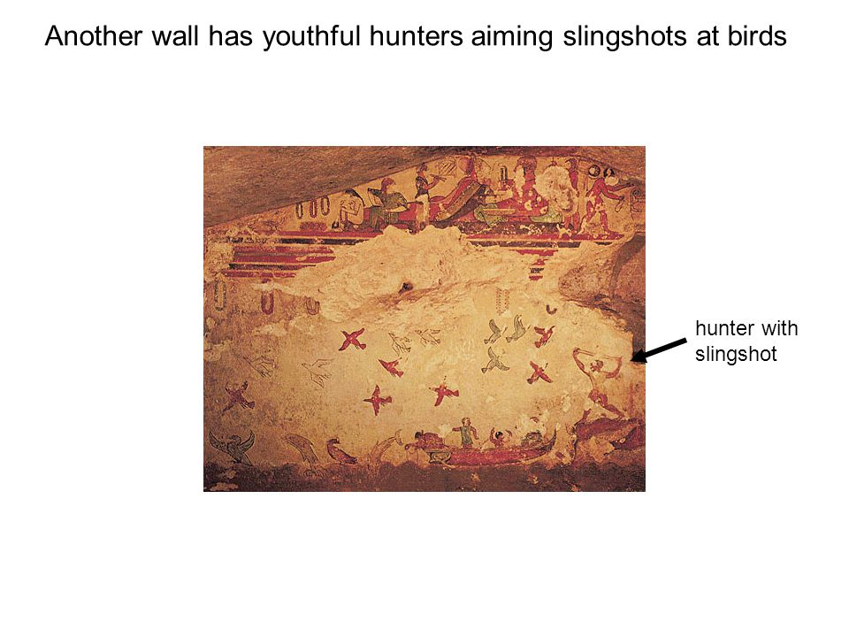 hunter with slingshot Another wall has youthful hunters aiming slingshots at birds