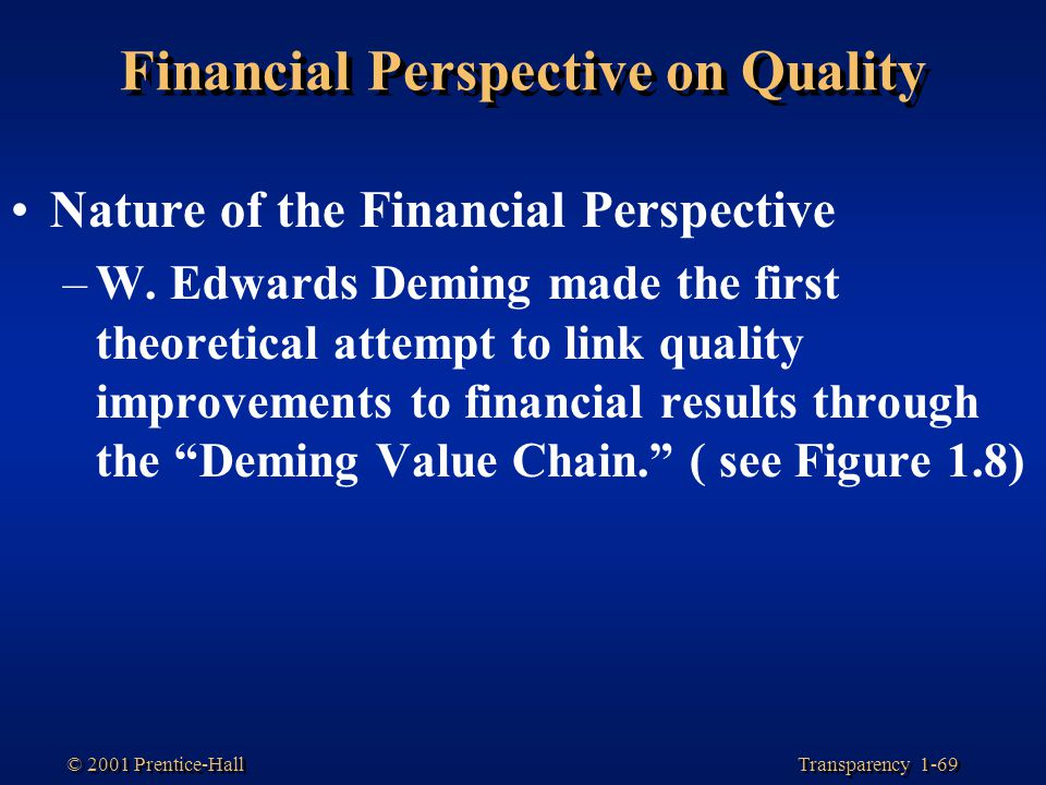 Transparency 1-69 © 2001 Prentice-Hall Financial Perspective on Quality Nature of the Financial Perspective –W. Edwards Deming made the first theoreti