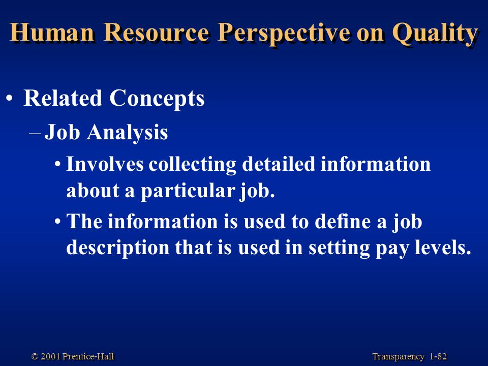 Transparency 1-82 © 2001 Prentice-Hall Human Resource Perspective on Quality Related Concepts –Job Analysis Involves collecting detailed information a