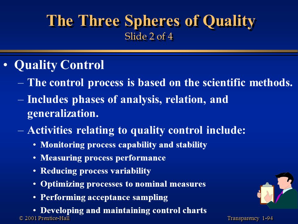 Transparency 1-94 © 2001 Prentice-Hall The Three Spheres of Quality Slide 2 of 4 Quality Control –The control process is based on the scientific metho
