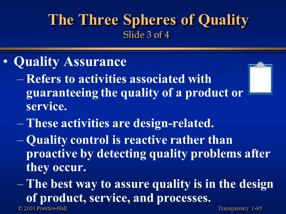 Transparency 1-95 © 2001 Prentice-Hall The Three Spheres of Quality Slide 3 of 4 Quality Assurance –Refers to activities associated with guaranteeing