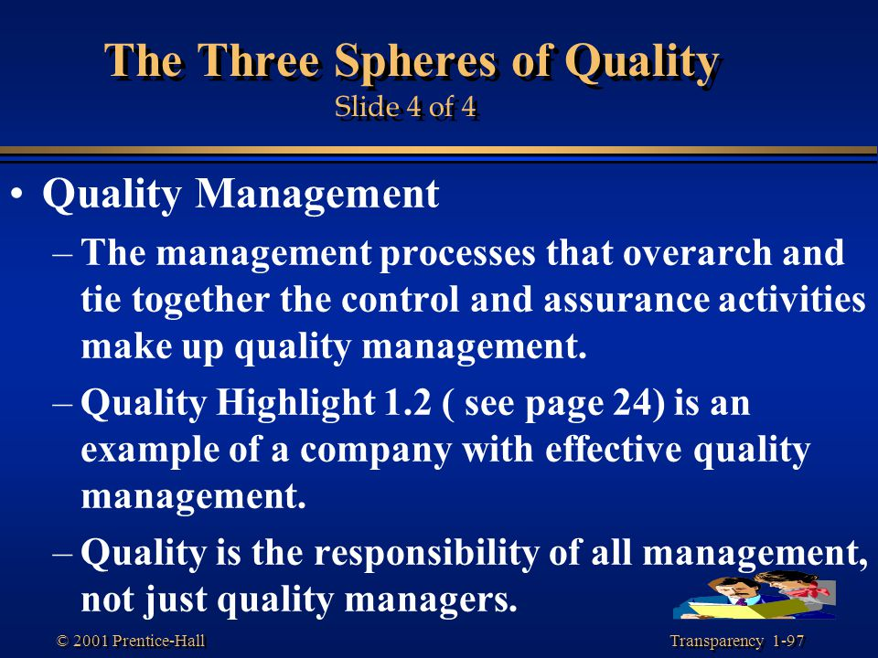 Transparency 1-97 © 2001 Prentice-Hall The Three Spheres of Quality Slide 4 of 4 Quality Management –The management processes that overarch and tie to