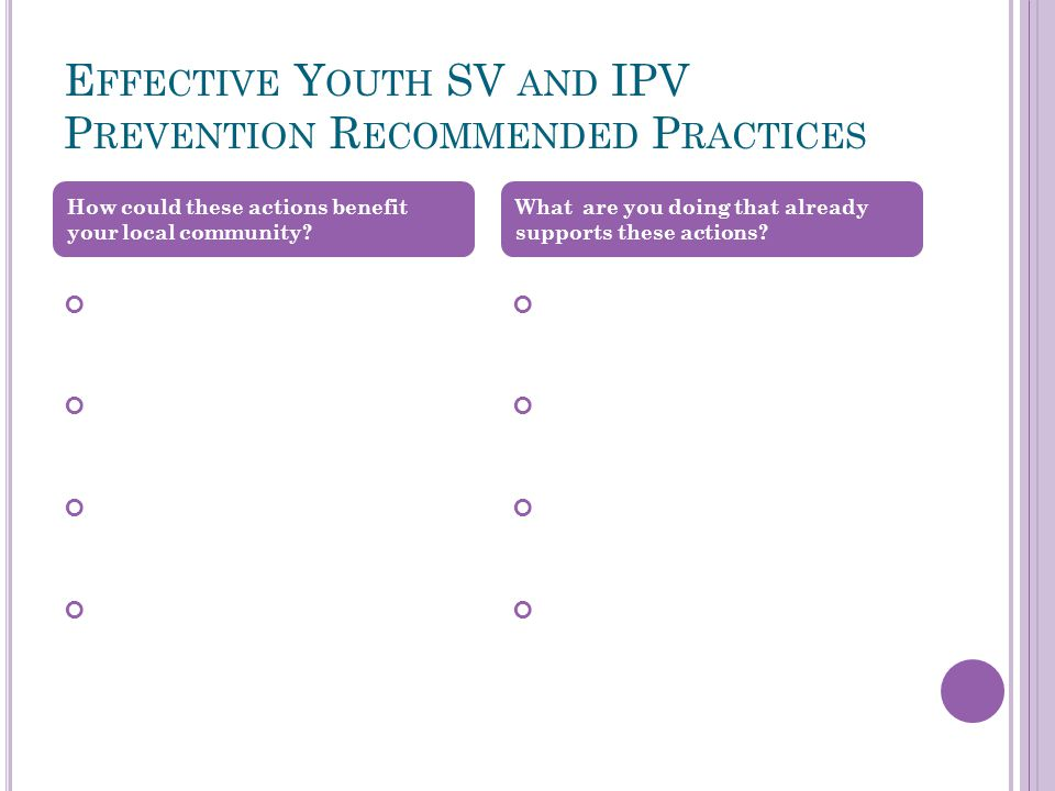E FFECTIVE Y OUTH SV AND IPV P REVENTION R ECOMMENDED P RACTICES How could these actions benefit your local community.