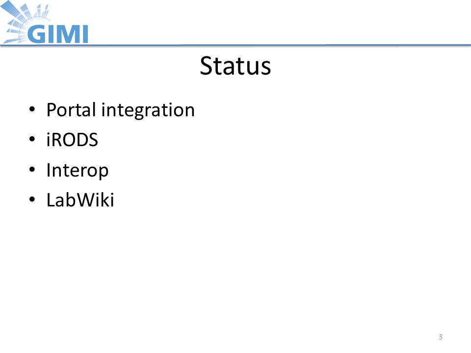 Status Portal integration iRODS Interop LabWiki 3