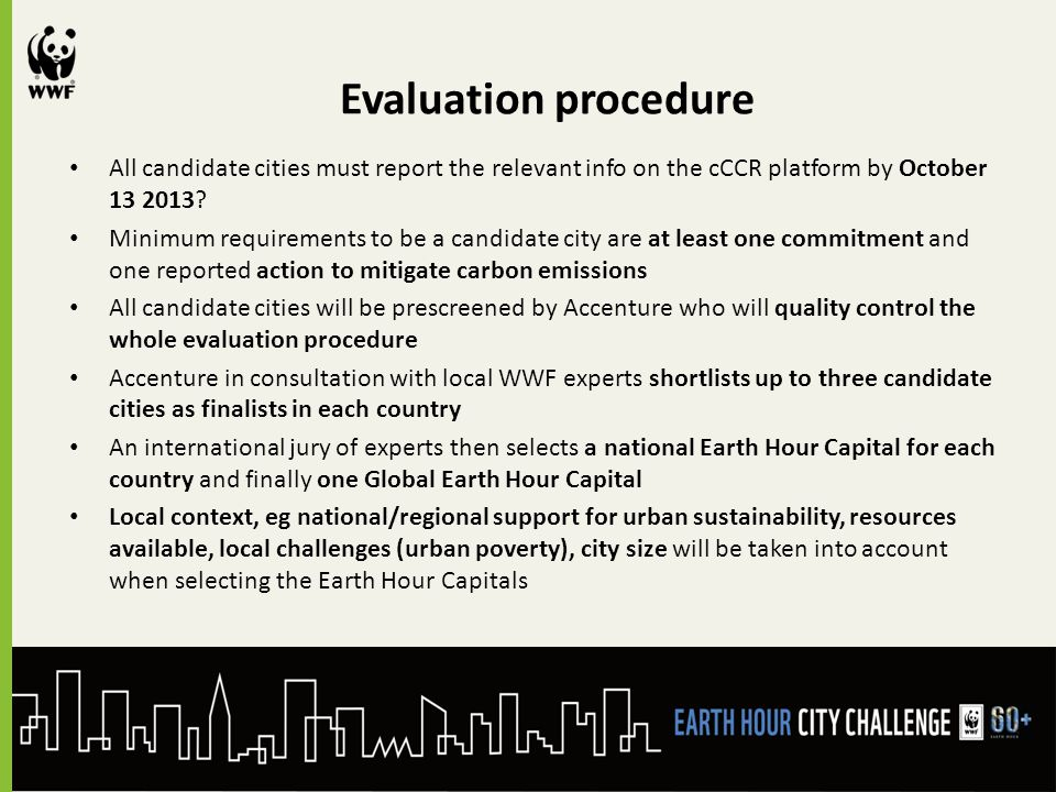 Evaluation procedure All candidate cities must report the relevant info on the cCCR platform by October