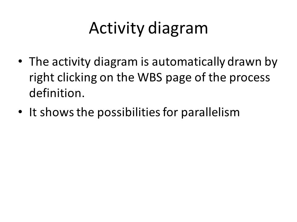 Activity diagram The activity diagram is automatically drawn by right clicking on the WBS page of the process definition.