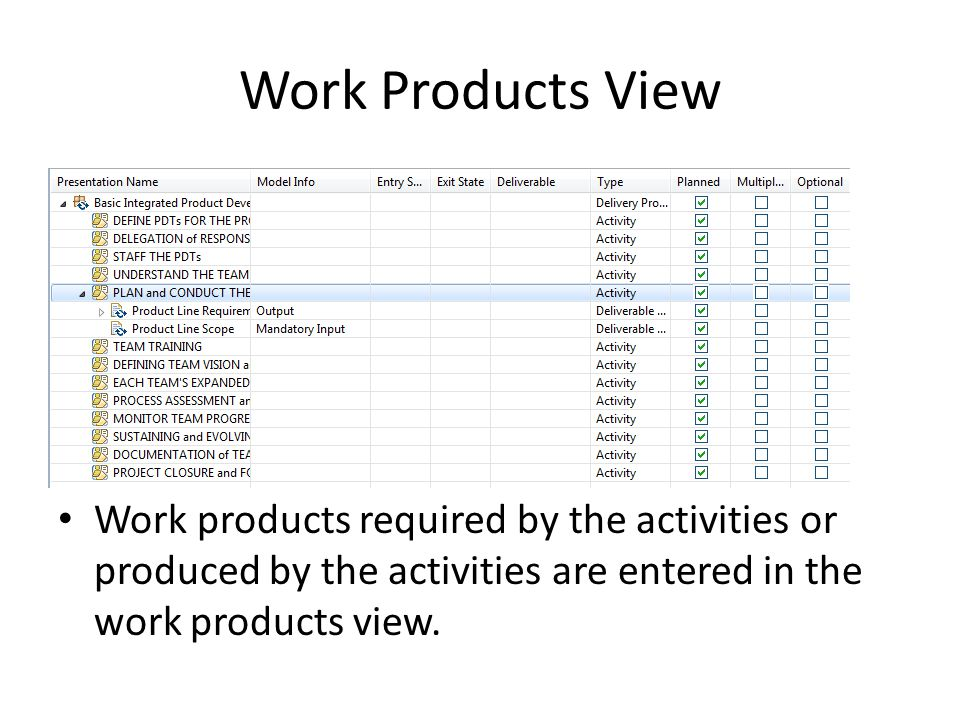 Work Products View Work products required by the activities or produced by the activities are entered in the work products view.